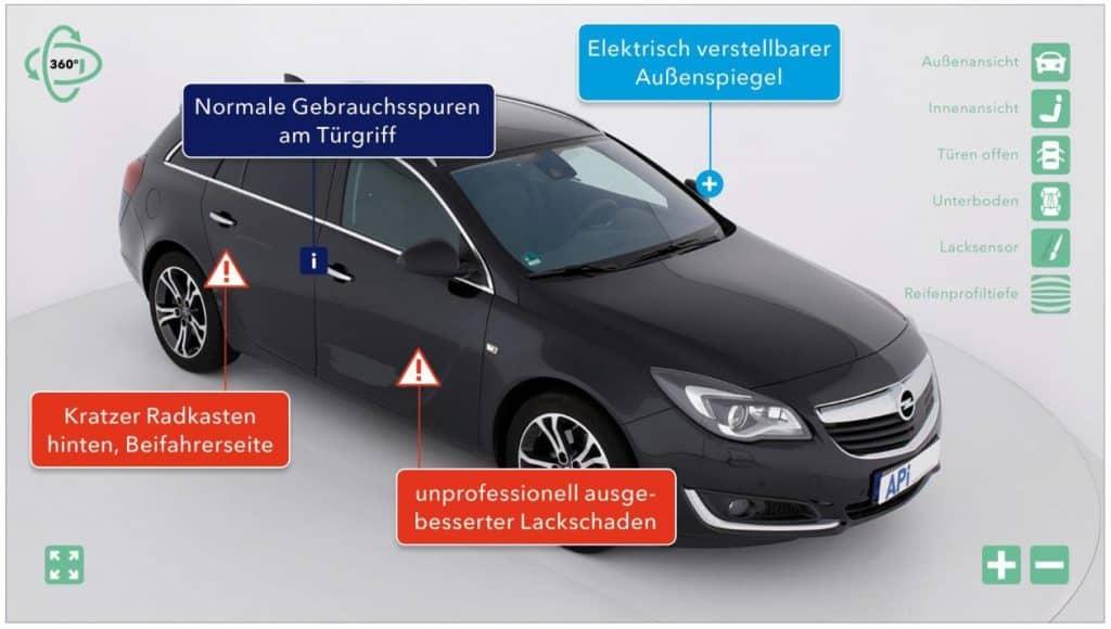 Fahrzeug-Digitalisierung mit Ausstattungsmerkmalen und Mängeln